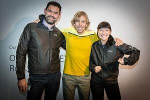 Icke und Friederike von freiseindesign.com mit unseren Jacken und Ultrarunner Sondre Amdahl - Foto: (c) Gore