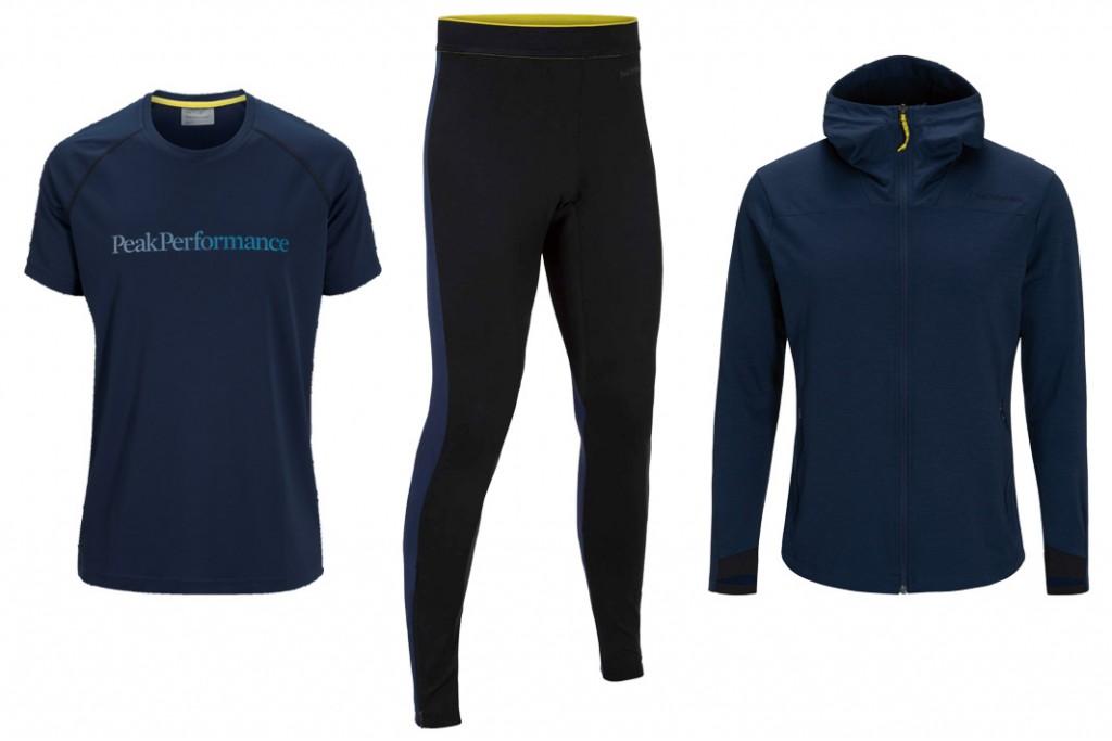 Frühjahrsoutfit für Läufer mit Stil: Gallos Shirt, Pender Tights und Civil Mid Hood von Peak Performance (v.l.n.r.) - Fotos: Peak Performance, Collage: Alex Rudolph