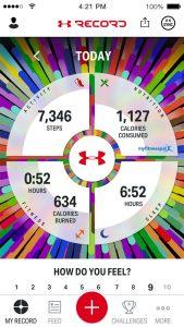 Das Dashboard der UA Record App (iOS-Version) - Bild: Hersteller