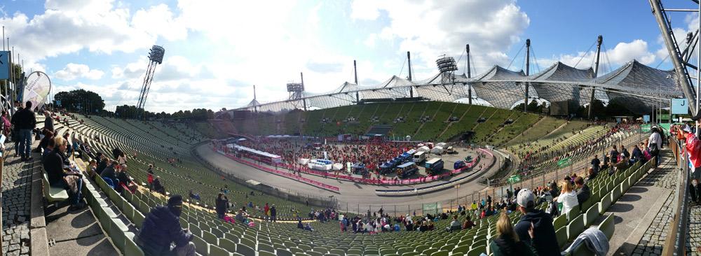 Wunderbar: Der Zielbereich im Olympiastadion München - Foto: Alex Funk