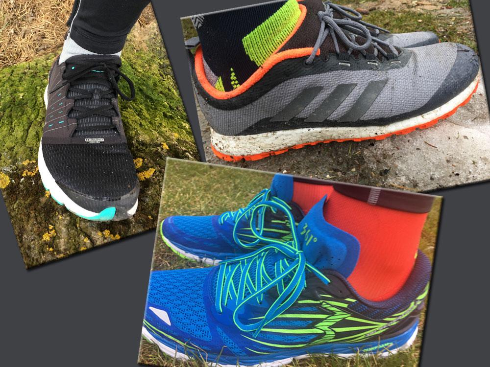Der rasant-stabile Speedform Europa von Under Armour samt Bluetooth-Chip (links oben), der Pure Boost ZG Heat von Adidas, ein Schuh mit erhöhtem, extrawarmem Schaft und damit perfekt für kalte Tage (rechts oben) sowie der griffig-stabile Sensation 2 von 361° (unten).