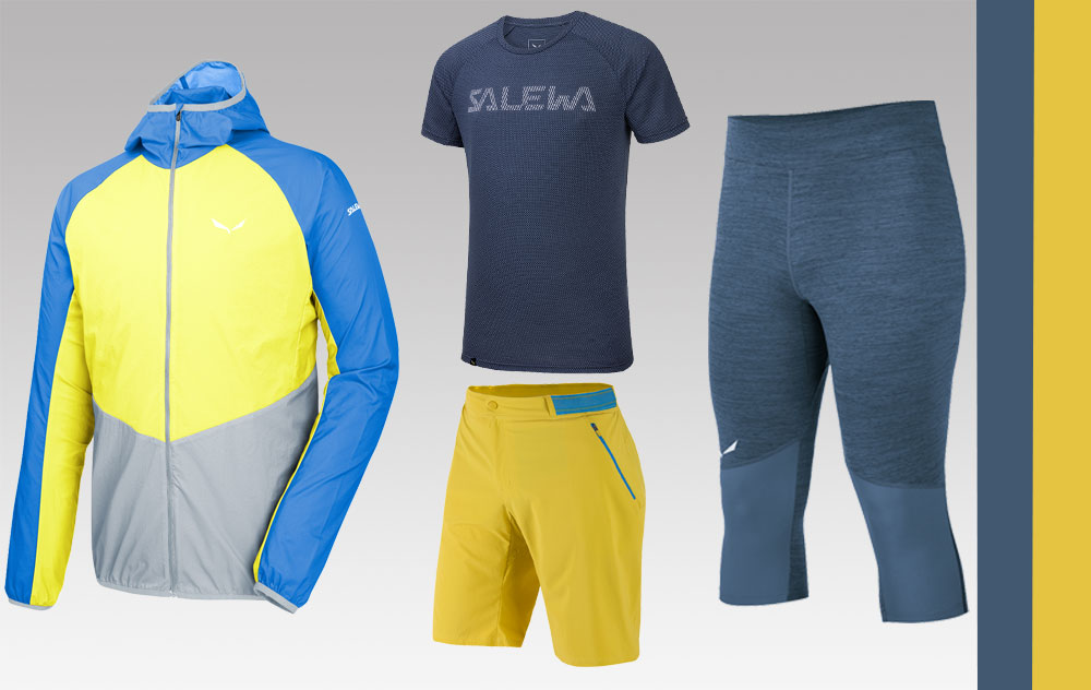 Pedroc 2 Superlight Jacket (li.), Pedroc Delta Dry S/S Shirt (o. M.), Pedroc Bermuda DST Shorts (u. M.) und Pedroc Dry (3/4) Tights (r.) aus der Alpine Speed Kollektion von Salewa - Foto: Hersteller